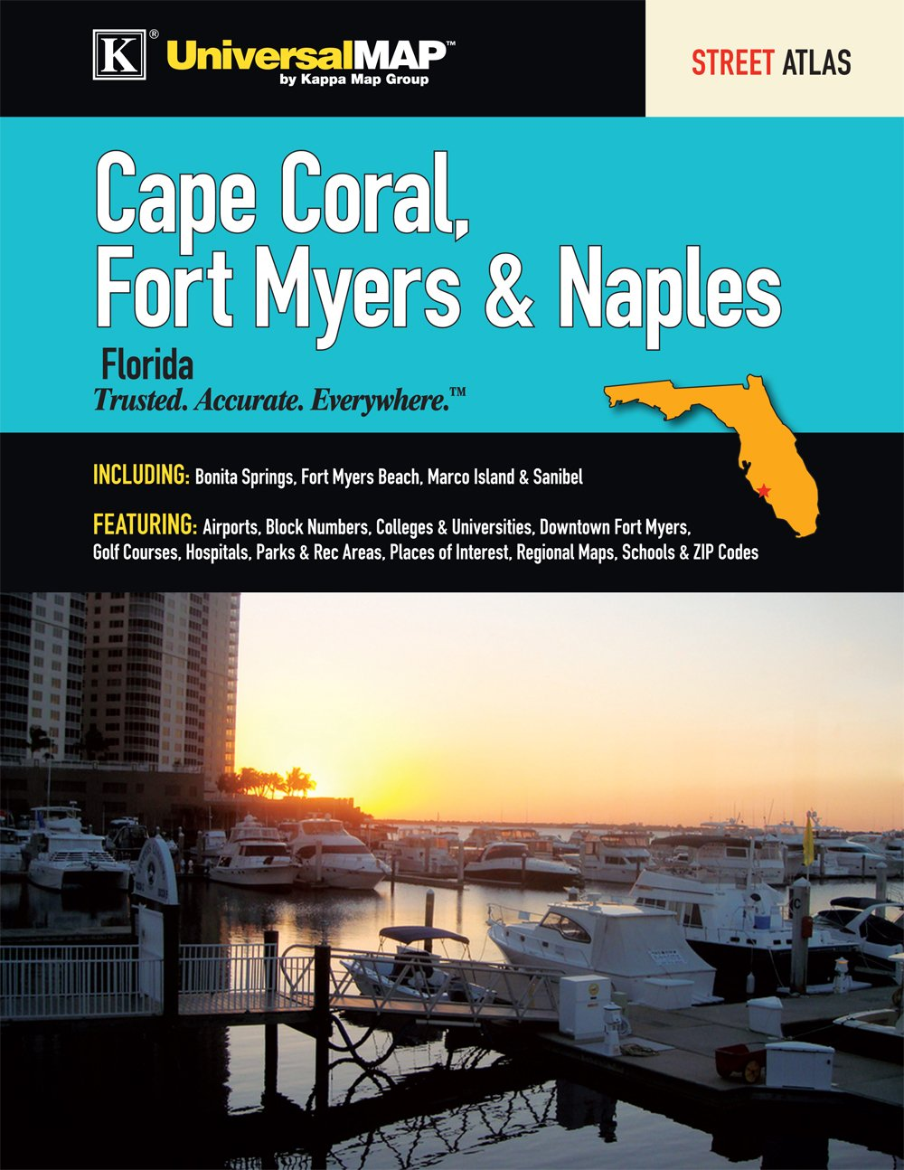 Cape Coral Fort Myers  Naples FL Street Atlas Kappa Map Group - Florida map naples fort myers