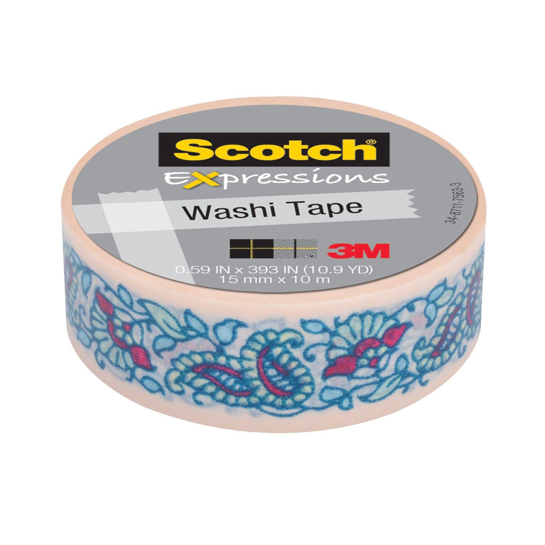 Scotch Expressions Tape, 0.59'' x 393'', Mint Flower, 6 Rolls (C314-P40)