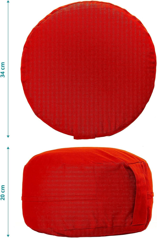 #DoYourYoga Yogakissen mit Stickerei Gr/ö/ße ca F/üllung : Buchweizenschale o handbesticktes Meditationskissen aus Baumwolle : Davinci 34x20cm Dinkelspelz