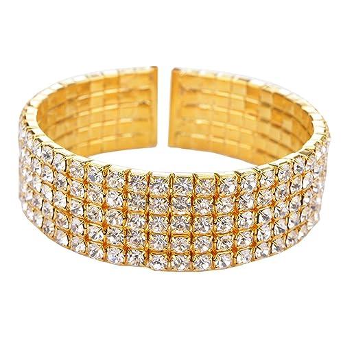 72bbc144e8d Amazon.com: Kacon Women's Silver-tone Austian Crystal Open End Wide Elegant Party  Cuff Bangle Bracelet Clear (gold): Jewelry