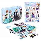 NEILDEN Disney Frozen Puzzles and Stickers, 60 Piece Jigsaw Puzzle for Kids Ages 4-8, Cute Foam Stickers Set for Toddlers and Children, Applying to Scrapbook, Teacher Reward,Party Favors (Frozen)