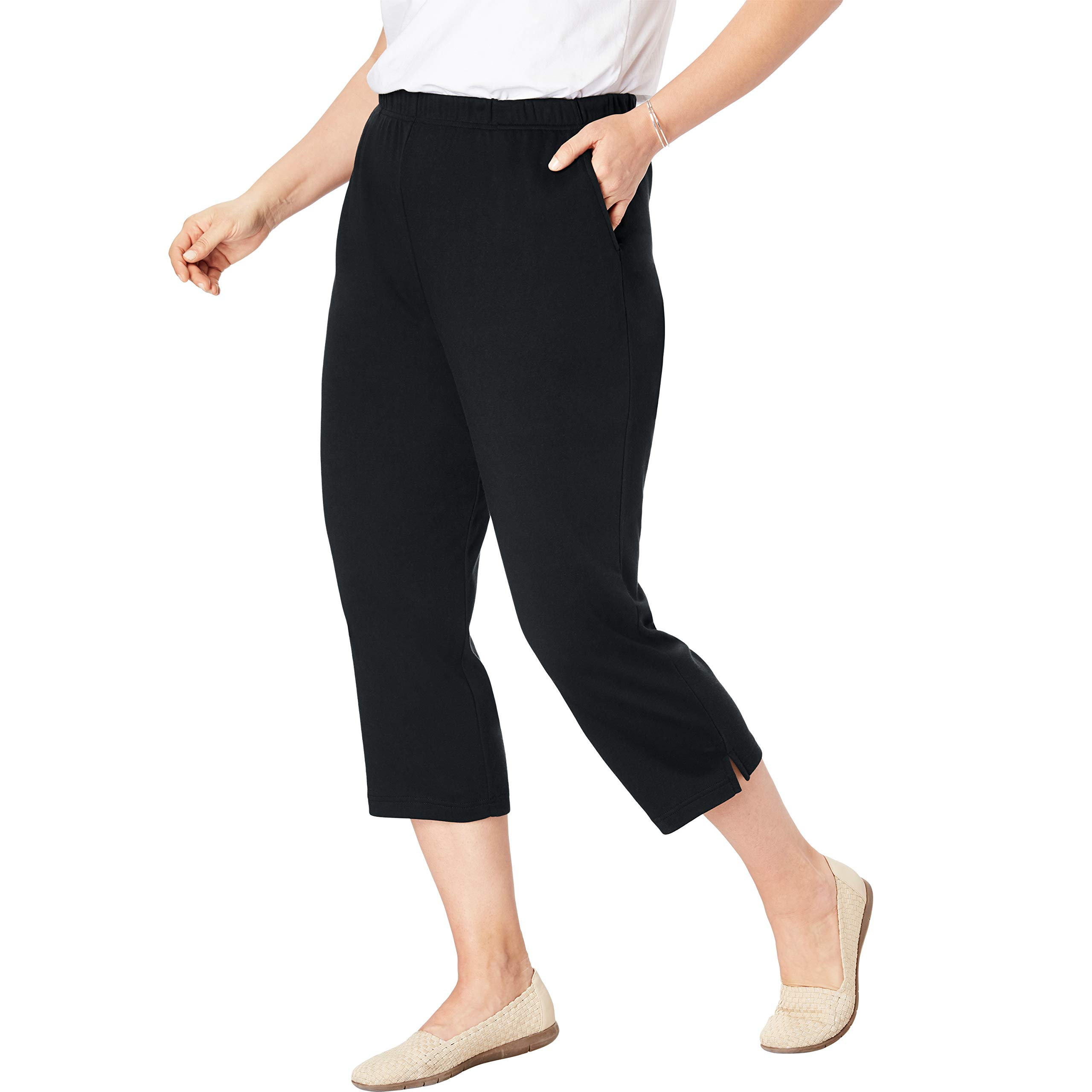 Woman Within Women's Plus Size Petite 7-Day Knit Capri - Black, 3X by Woman Within