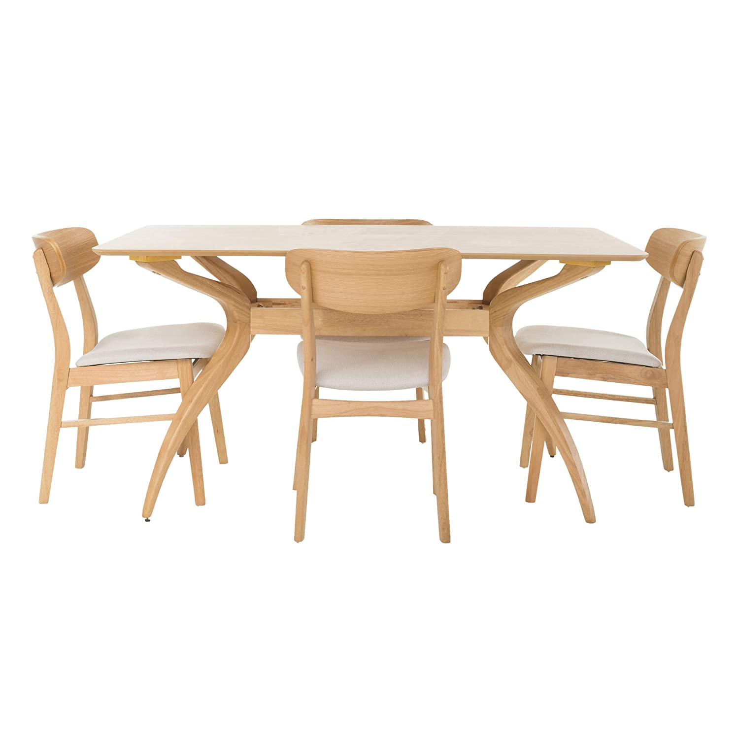 GDFStudio 299329 Leona Mid Century Natural Oak Finish 5 Piece Dining Set Light Beige ,