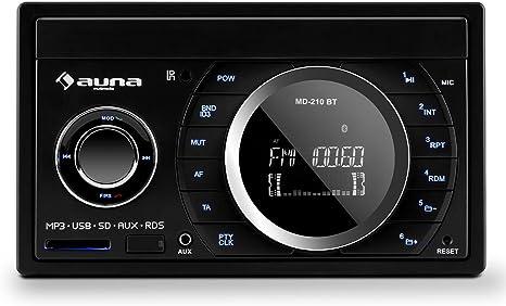 auna MD-160-BT /• Autoradio /• Car-Radio /• Car-HiFi-Set /• Bluetooth-Schnittstelle /• USB-Slot /• SD//MMC-Slot /• UKW-Radiotuner /• MP3 /• 3,5mm-Klinke-AUX-Eingang /• Stereo-Cinch-Line-Ausgang /• Freisprechanlage