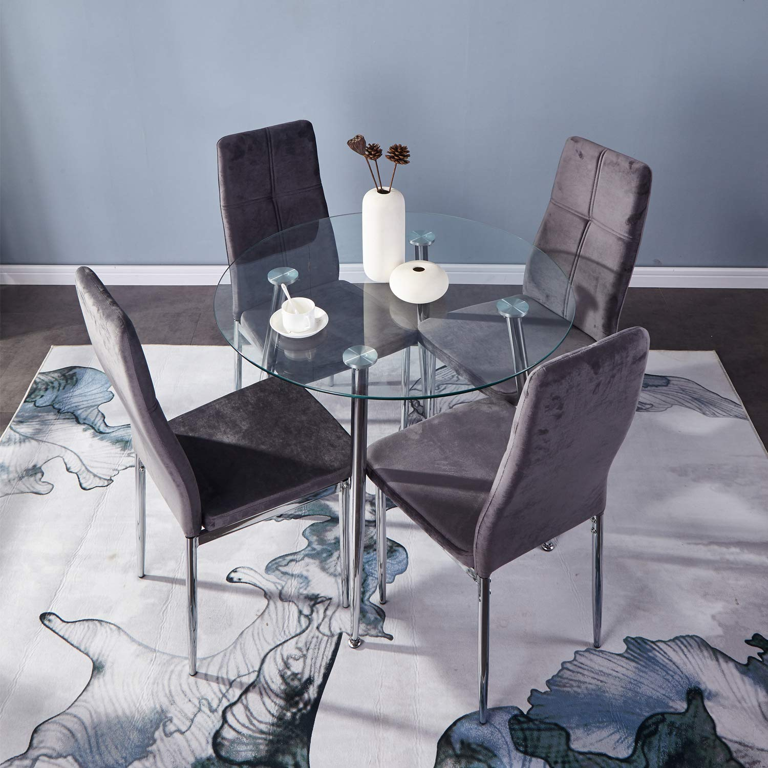 Small Dining Table Set For 4, Goldfan Small Round Dining Table And Chairs Set Of 4 Modern Glass Kitchen Dining Table Set With Chrome Legs For Living Room Office Furniture Buy Online In Trinidad And Tobago At Desertcart