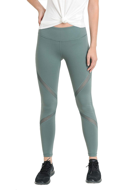 Ap1225_m.teal bluee Mono B Women's Performance Activewear  Yoga Leggings with Sleek Contrast Mesh Panels Black