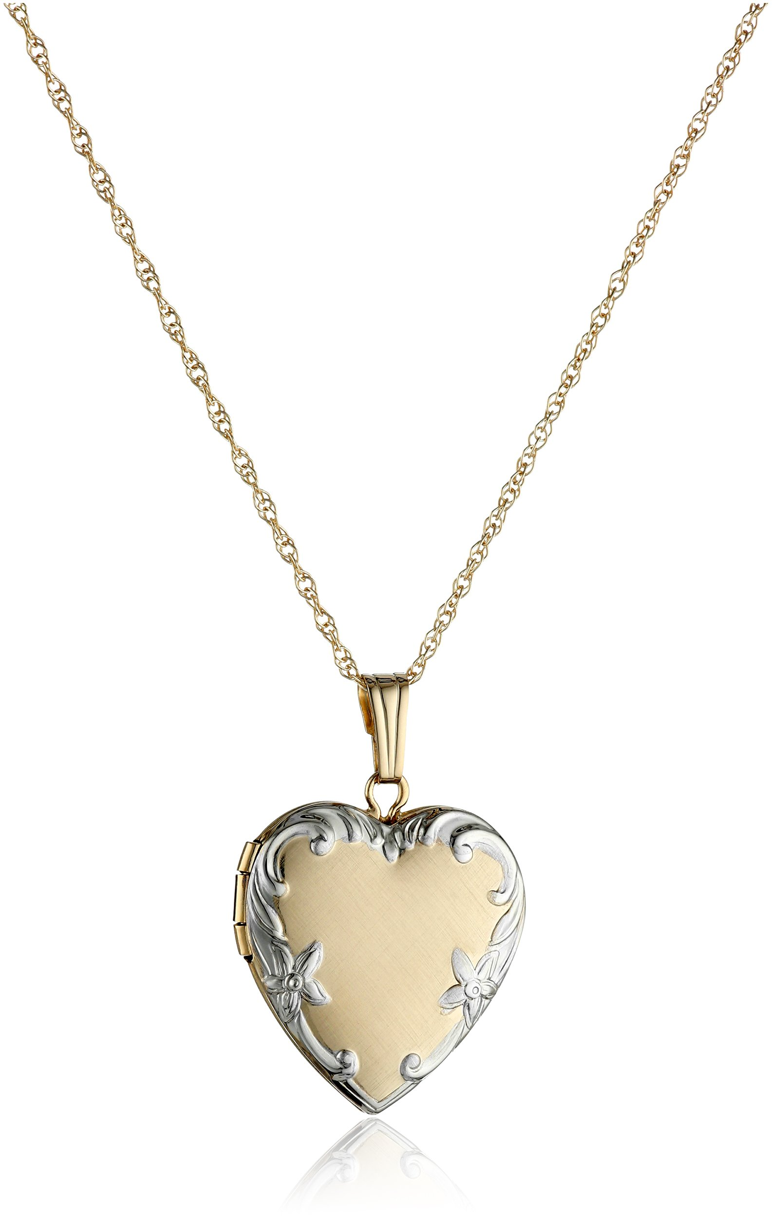 14k Yellow Gold Two-Tone Embossed Heart Locket Necklace, 18''