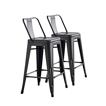 Astounding Ac Pacific Modern Industrial Metal Barstool With Bucket Back And 4 Leg Design 24 Seat Bar Stools Set Of 2 Sanded Matte Black Brushed Rusty Gold Beatyapartments Chair Design Images Beatyapartmentscom