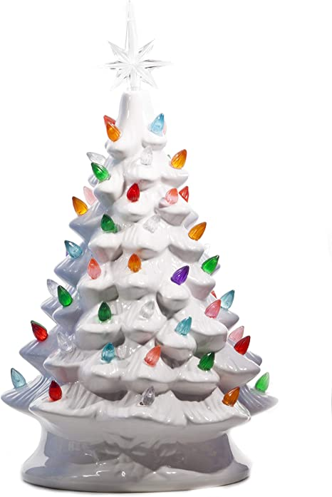 Tabletop Ceramic Lighted White Christmas Tree