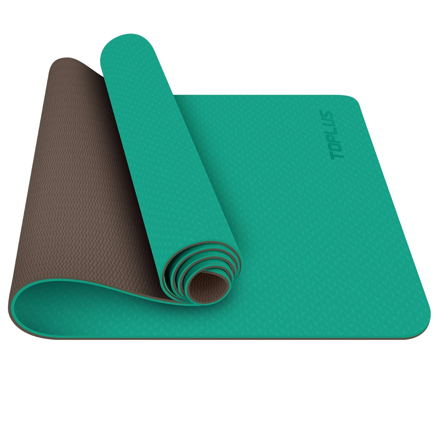 TOPLUS Yoga Mat, 1/4 inch Pro Yoga Mat TPE Eco Friendly Non Slip Fitness Exercise Mat with Carrying Strap-Workout Mat for Yoga, Pilates and Floor Exercises (Green) by TOPLUS (Image #2)