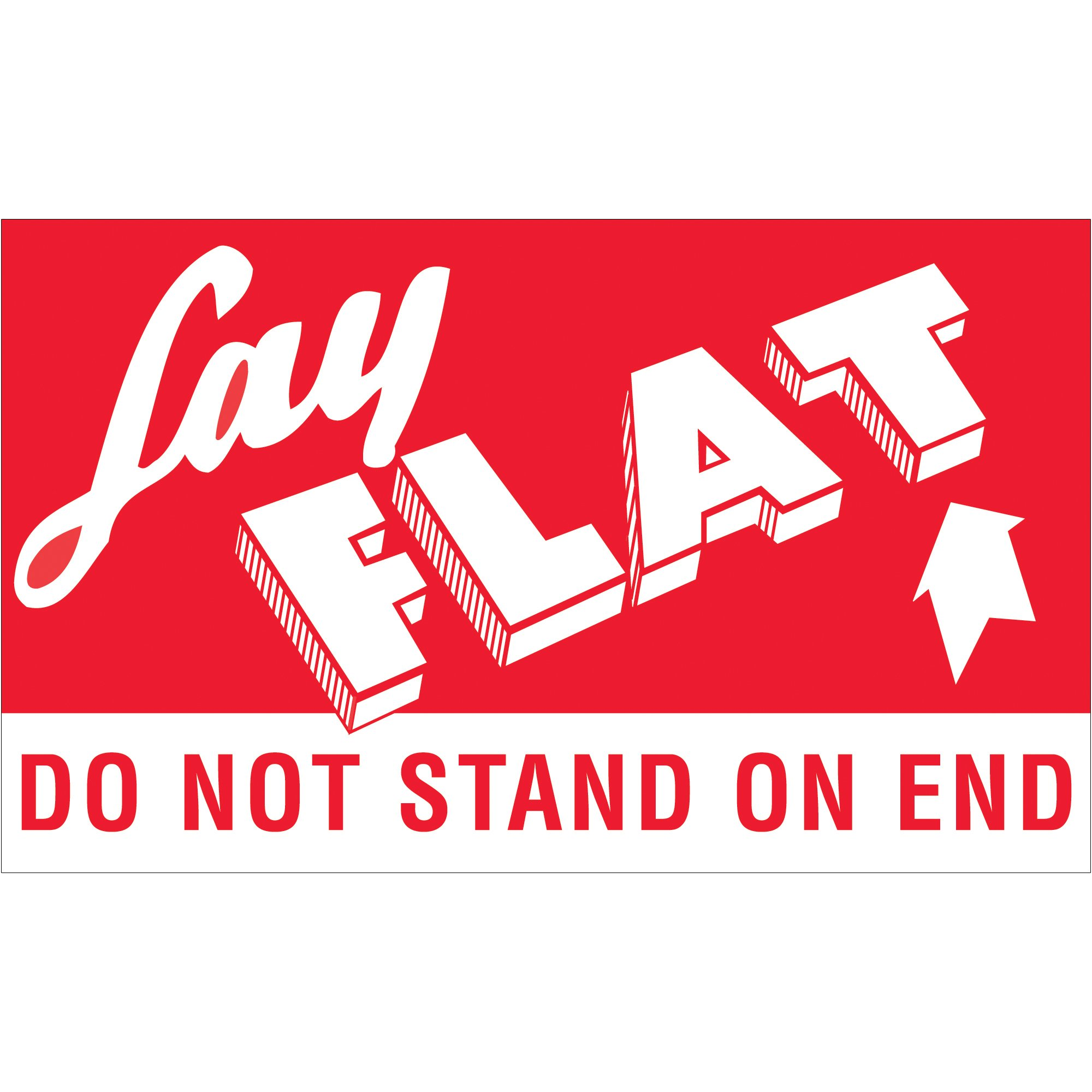 Boxes Fast Tape Logic Labels,''Lay Flat - Do Not Stand On End'', 3'' x 5'', Red/White, (1 Roll of 500 Labels) by Boxes Fast