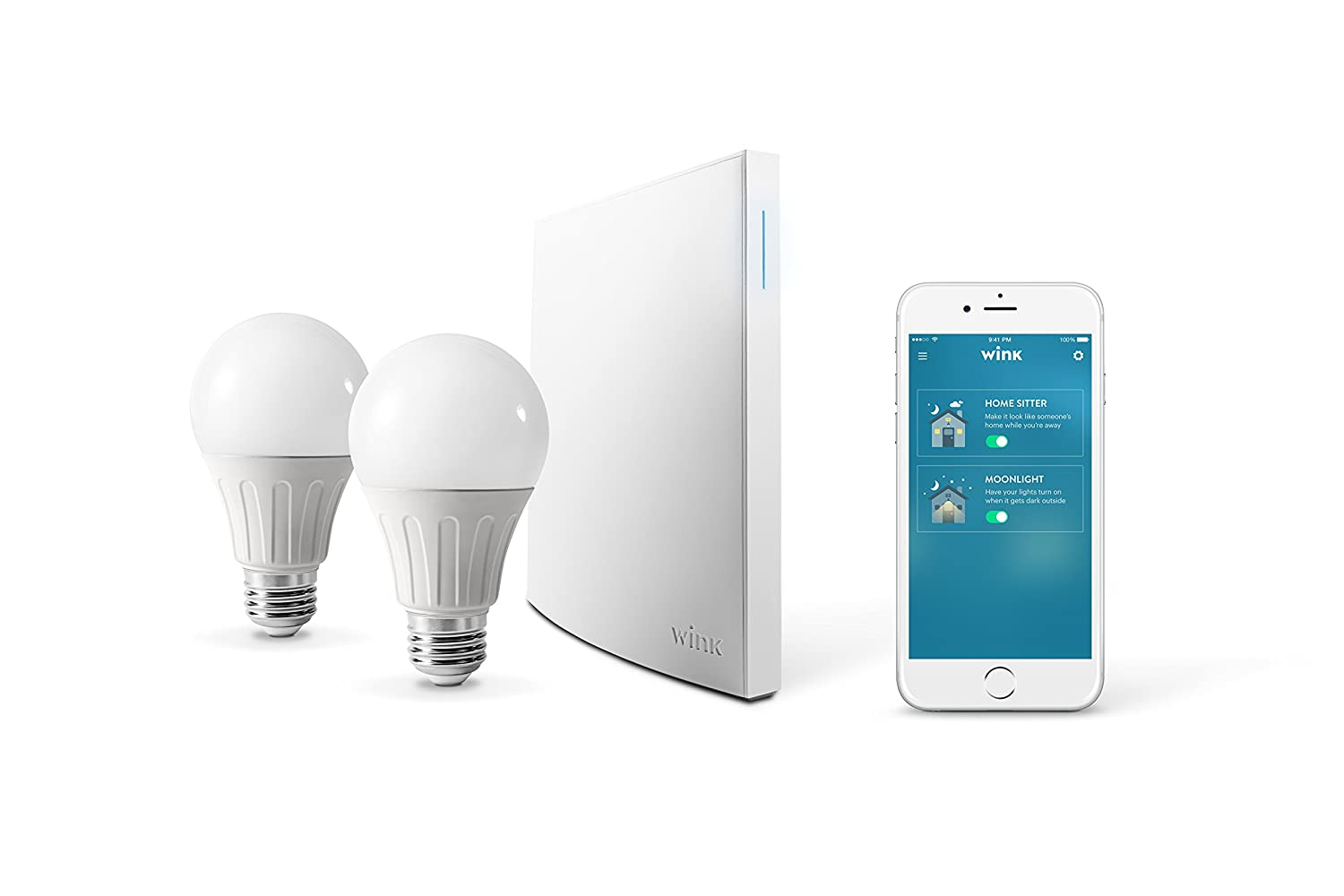 Wink Bright Smart Home Lighting Starter Kit With Hub 2 Led Light Emergency Wiring Diagram Together Rj45 Socket Sylvania Bulbs Compatible Amazon Alexa And Google Assistant