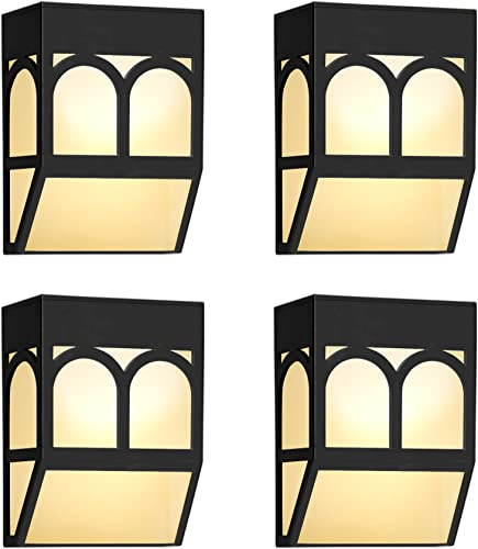 Upgrade Solar Powered Wall Mount Lights Landscape Garden Yard Fence Outdoor Lights White Warm 4
