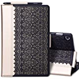 WWW Samsung Galaxy Tab S5e 10.5 Case,[Luxury Laser Flower] Premium PU Leather Case with Auto Wake/Sleep Feature and Multiple