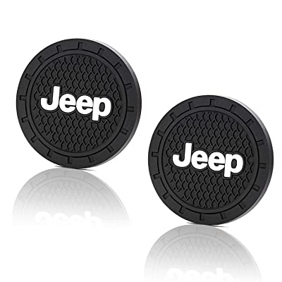 JIYUE 2 Pcs 2.75 inch Vehicle Travel Auto Cup Holder Insert Coaster Mat for Jeep All Models: Automotive
