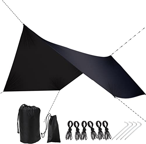 DUTY STRONG Rain Fly Tarp Waterproof Tarp Camping Shelter Canopy Lightweight Easy Setup for Hammock or Tent Camp Gear, Hammock Rain Fly Tent Tarp for Camping