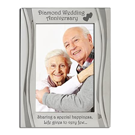Diamond 60th Wedding Anniversary Photo Frame Matt And Gloss Silver