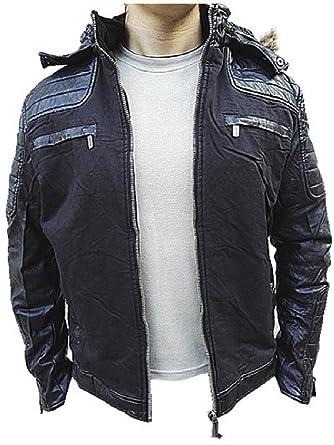Manteau Homme Veste hiver simili cuir Blouson Jacket capuche fourrure W1425  NOIR GRIS NOIR  b0533e2701a9