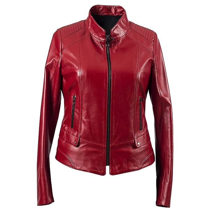 Amazon.com: Chaqueta de piel de cordero para mujer, talla ...