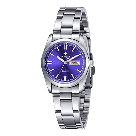 Women Date Day Clock Female Stainless Steel Watch Ladies Fashion Casual Wrist Watches Blue