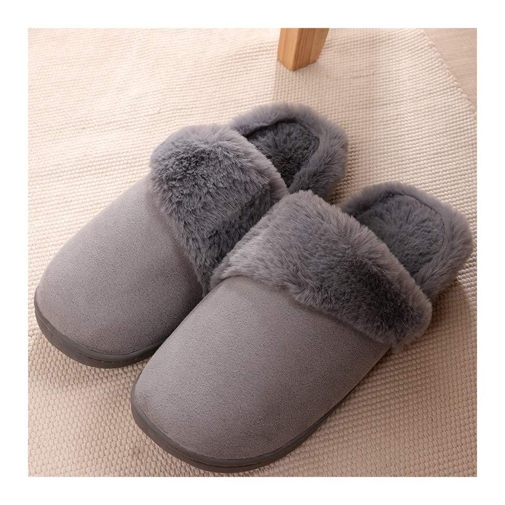 GAOHUI Slippers Los Hombres Invierno Caliente Antideslizante Terciopelo Artificial Zapatillas Costura Moda Interiores Exteriores Par De Zapatos