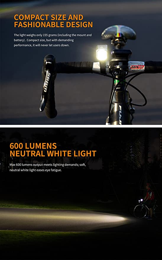 Fenix BC25R Cree Neutral White LED USB Rechargeable Bike Light Bicycle Headlight