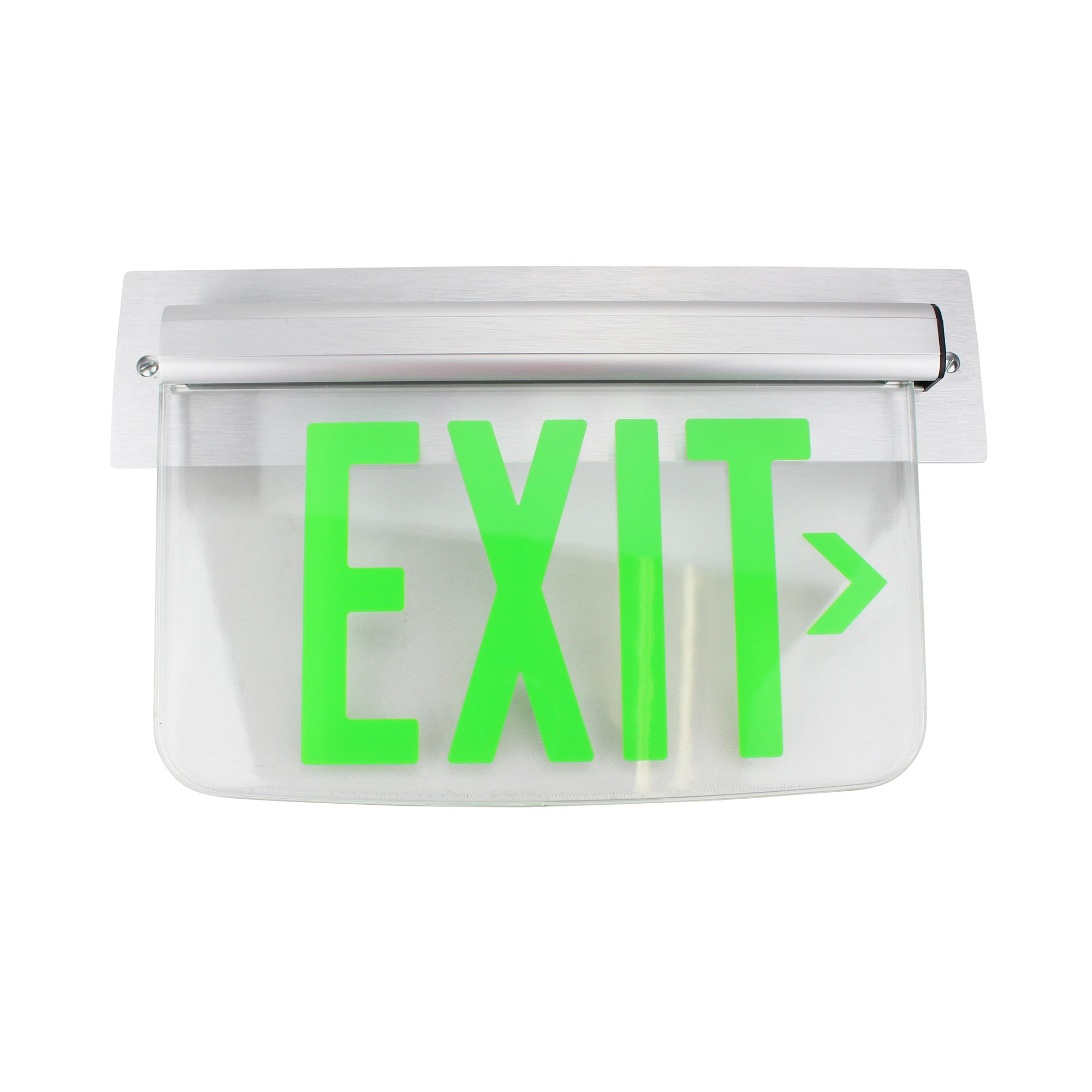 Dual Lite Hubbell Lewsgrna Le Series Edge-Lit Led Exit Sign, Wall Mount, Right Arrow, Green
