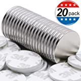 """Strong Neodymium Disc Magnets with Double-Sided Adhesive, 1.26""""D x 0.08""""H Super Strong Rare Earth Magnets - Pack of 20"""