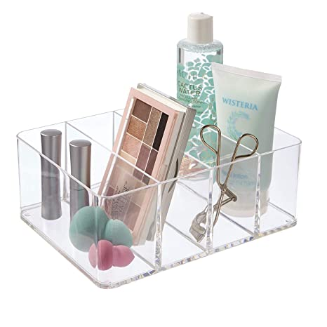 3d38e1c52041 STORi Clear Plastic Vanity, Craft, and Plush Toy Organizer | 4-Compartments