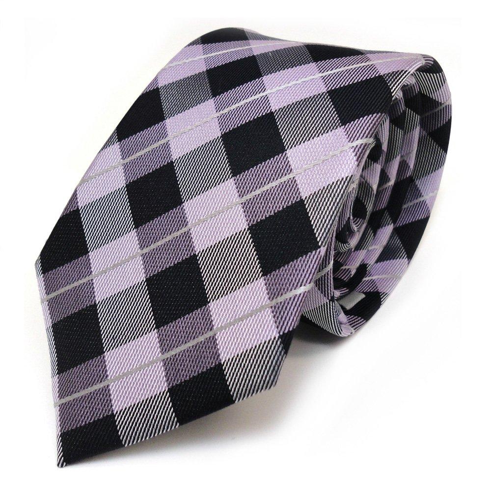 Mexx corbata de seda - morado violeta plata negro a cuadros ...