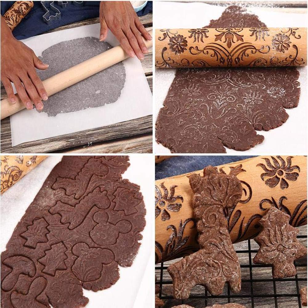 SNOLEK Patrón Creativo Rodillo de panadería pastelería Madera ...