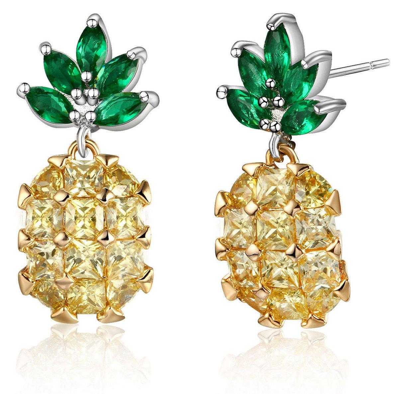 757f272c4 Amazon.com: Yellow Pineapple Stud Earrings Sterling Silver: Jewelry