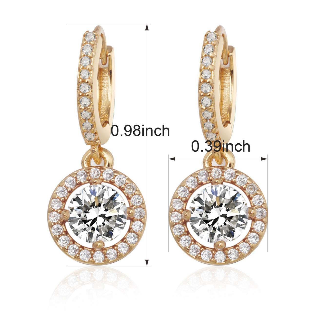 Anni Coco 18K Gold Plated Clear CZ Cubic Zirconia Drop Earrings Women Lady Girl Jewelry