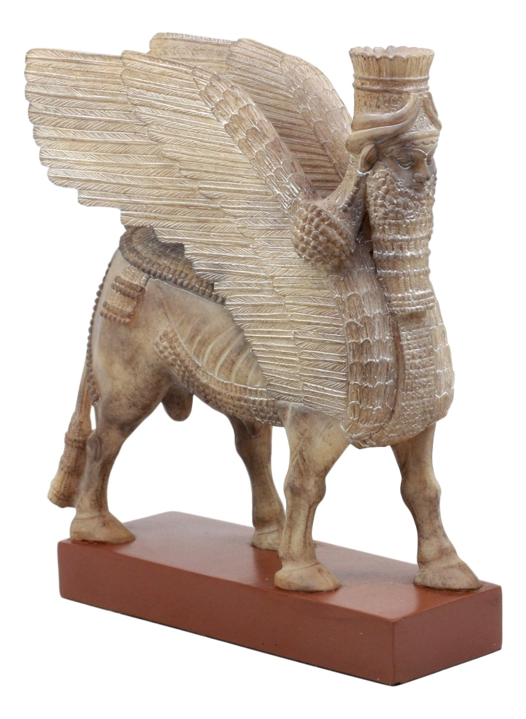 Ebros Ancient Assyrian Lamassu Bull Statue 8.5'' L Decorative Collectible Shedu On Wooden Pedestal by Ebros Gift