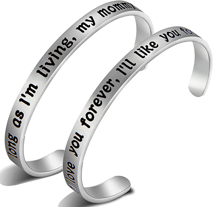 EIGSO Mother Daughter Cuff Bracelet The Love Between A Mother and Daughter is Forever Bracelet Inspirational Cuff Bracelet Jewelry /…