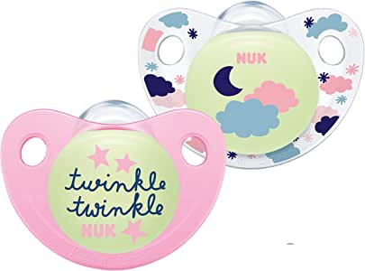 Nuk Trendline Night & Day Chupete con efecto luminoso, 18 – 36 meses, silicona, sin BPA, rosa, 2 unidades: Amazon.es: Bebé