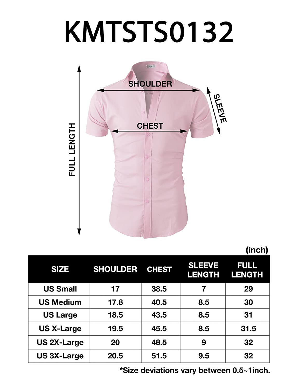 H2H Mens Casual Slim Fit Button-Down Dress Shirts Short Sleeves Solid Colors