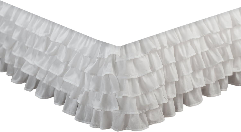 Greenland Home Multi-Ruffle Bed Skirt, White, 15-inch, Full