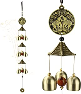 ACETOP Wind Chimes, Vintage Metal Wind Chime Bells Chinese Feng Shui Lucky Bell Hanging Ornament for Home Outdoor Indoor Decor Garden Hanging Good Luck Blessing