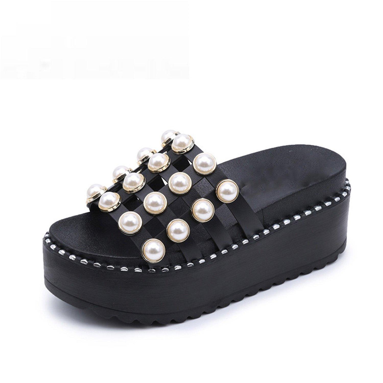 Amazon.com | Kinggolder Pearl Sandals Women Flats Solid ...