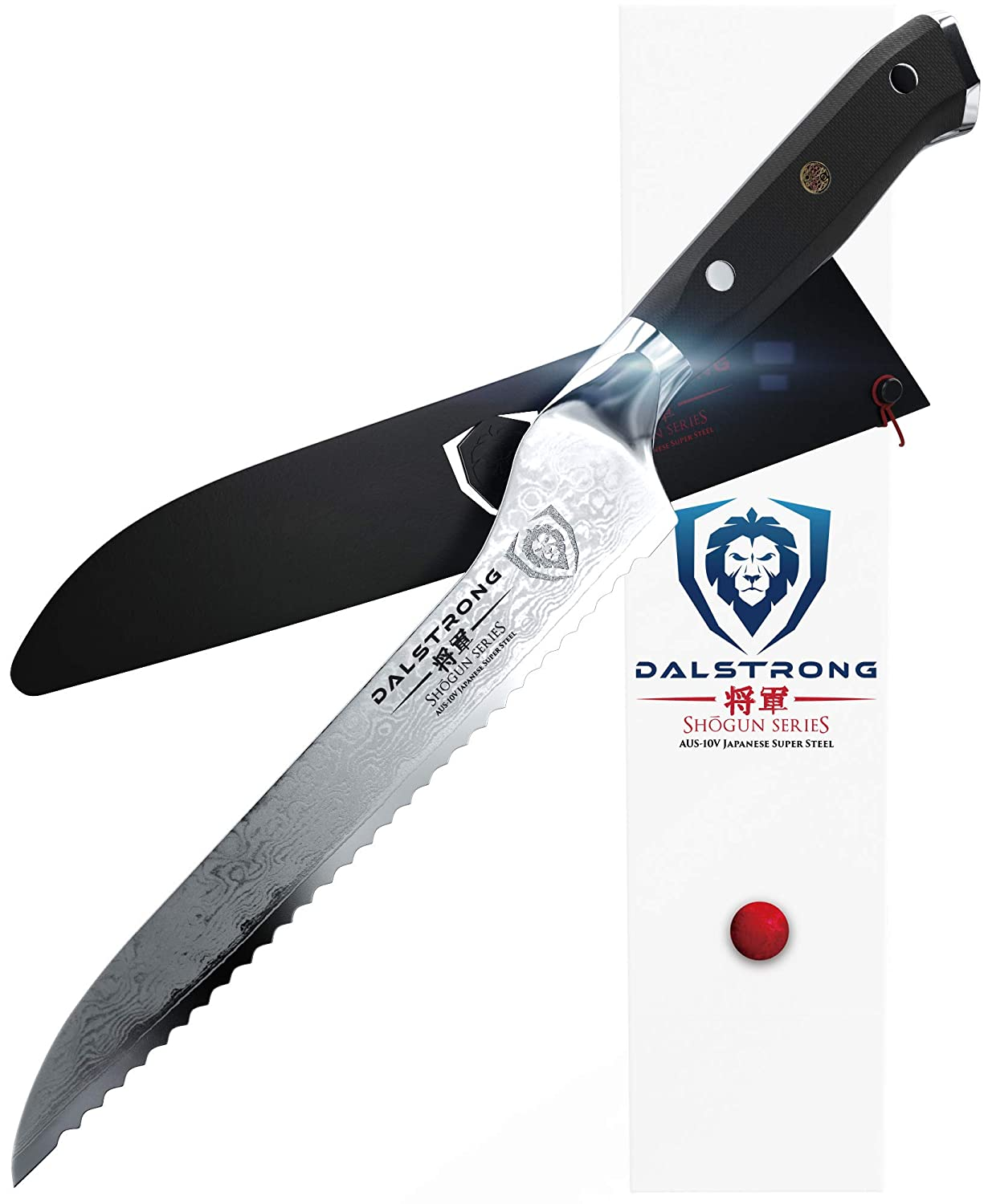 DALSTRONG Serrated Offset Knife- Shogun Series- AUS-10V Japanese Super Steel 67 Layers- Vacuum Treated- 8