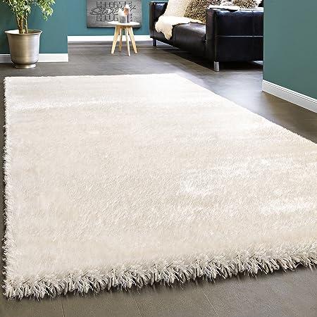 Dimensione:60x100 cm Elegante Tappeto Shaggy Pelo Alto Tinta Unita Morbido Brillante in Crema Bianco