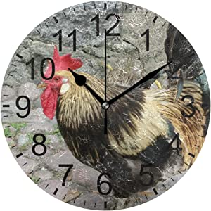 Promini Animal Poultry Chicken Cock Rooster Wooden Wall Clock 15Inch Silent Battery Operated Non Ticking Wall Clock Vintage Wall Decor for Kitchen, Living Room, Bedroom, School, or Office