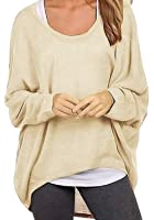 Lymanchi Women Batwing Tops Casual Long Sleeve Baggy Shirt Sexy Pullover Blouse