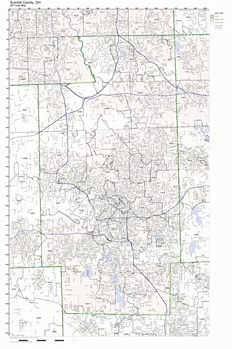 Amazon Com Summit County Ohio Oh Zip Code Map Not Laminated Home