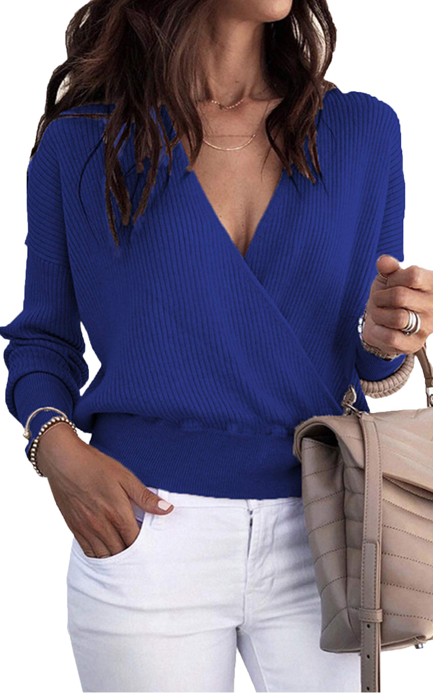Angashion Women's Long Sleeves V Neck Sweater Pullover Cross Wrap Front Loose Casual Tunic Tops Color Blue M