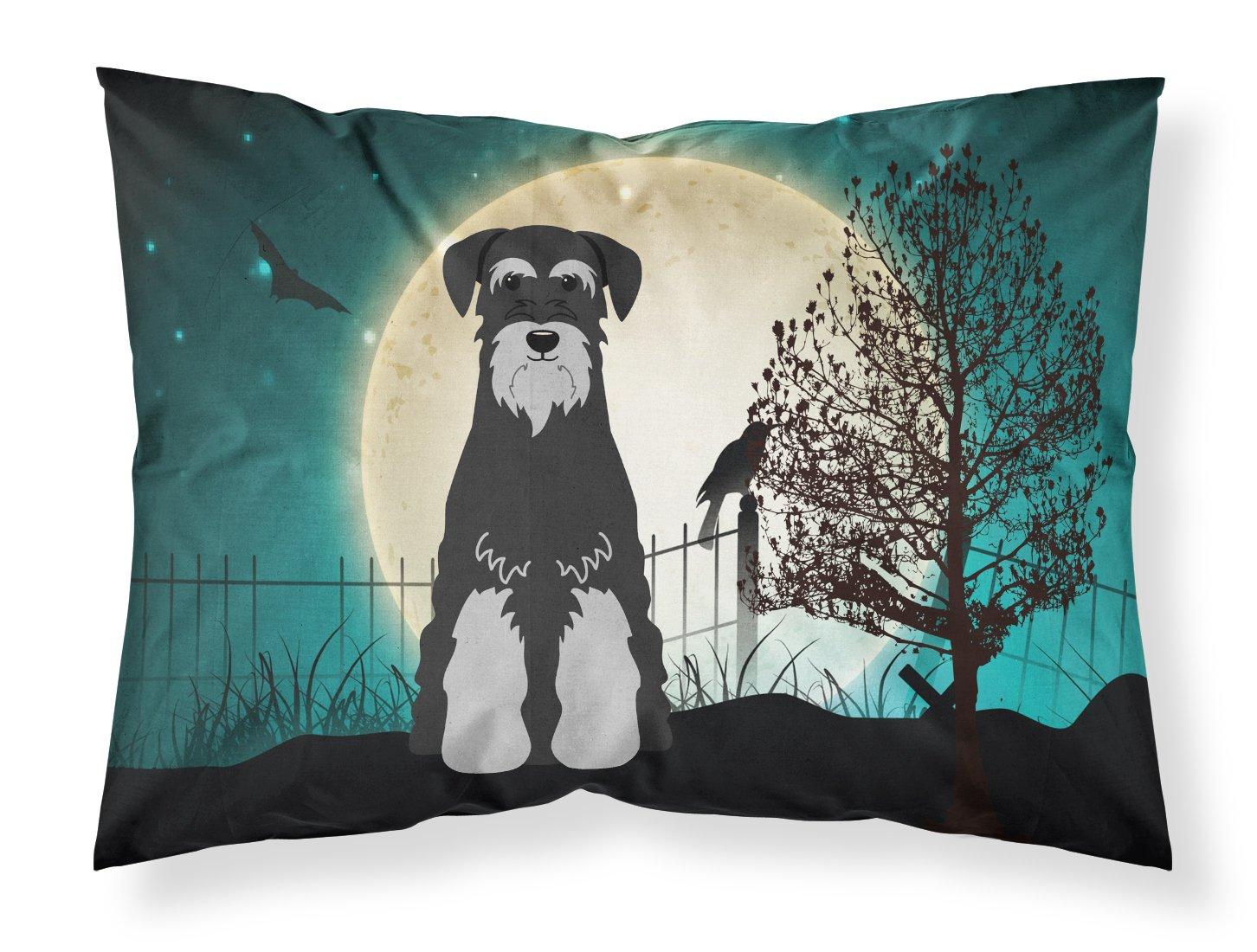 Multicolor Carolines Treasures Halloween Scary Schnauzer Black Grey Fabric Standard Pillowcase BB2224PILLOWCASE