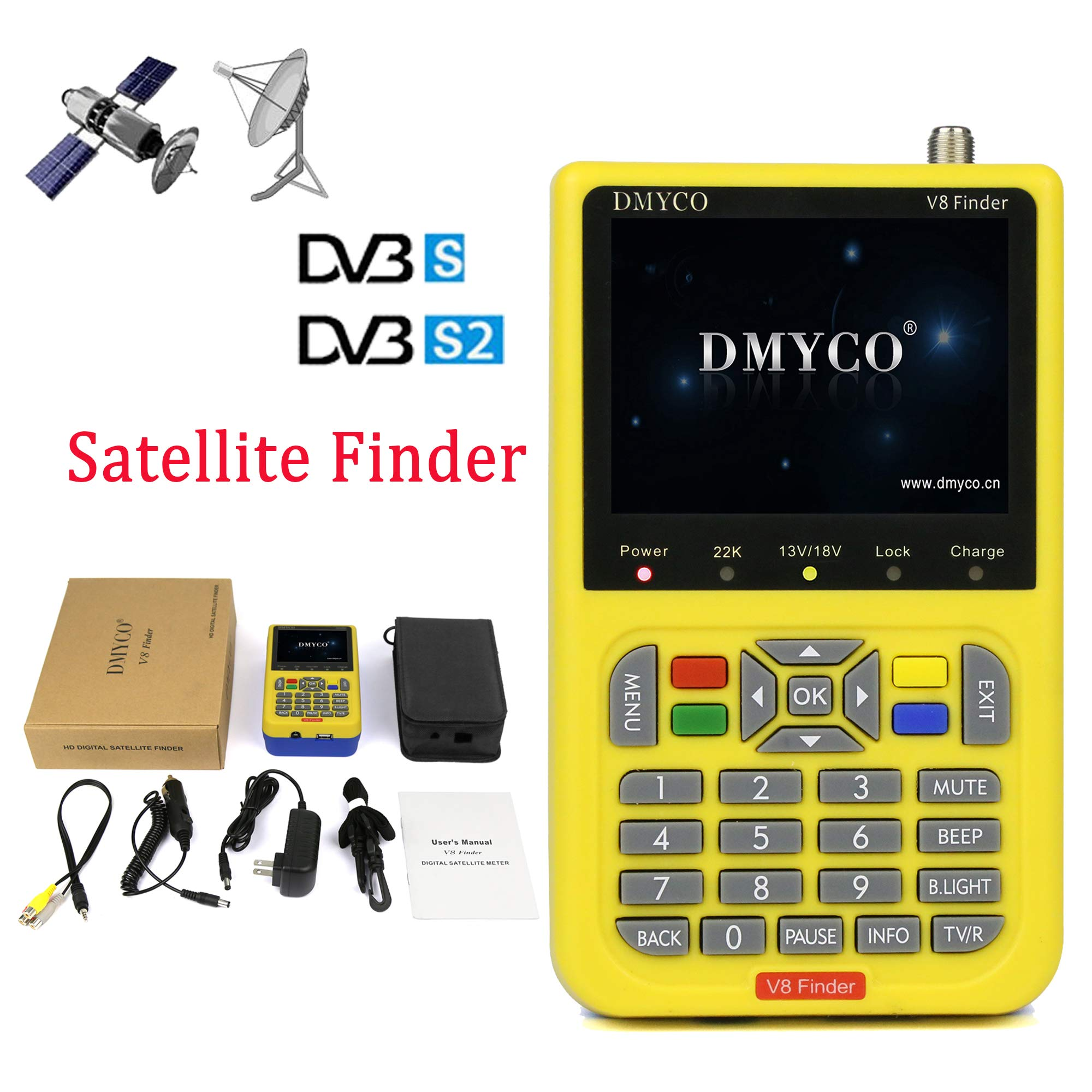 Freesat V8 Satellite Finder FTA Satellite Receiver HD DVB S2 Receiver Digital Signal Meter Outdoor Signal Detector High Definition Satellite Television Equipment
