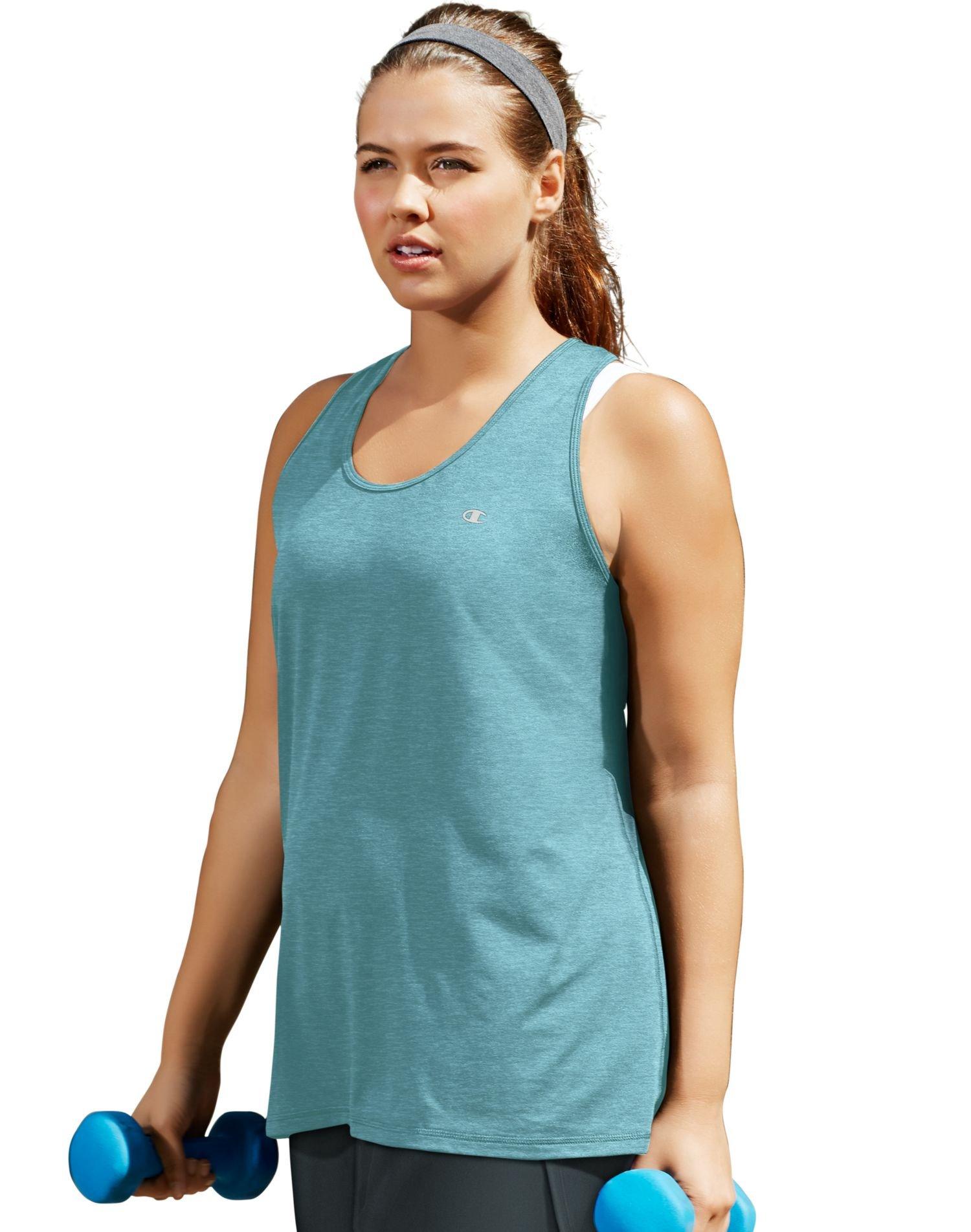 Champion Women's Plus-Size Absolute Stretch Tank, Amazing Aqua Heather, 4X