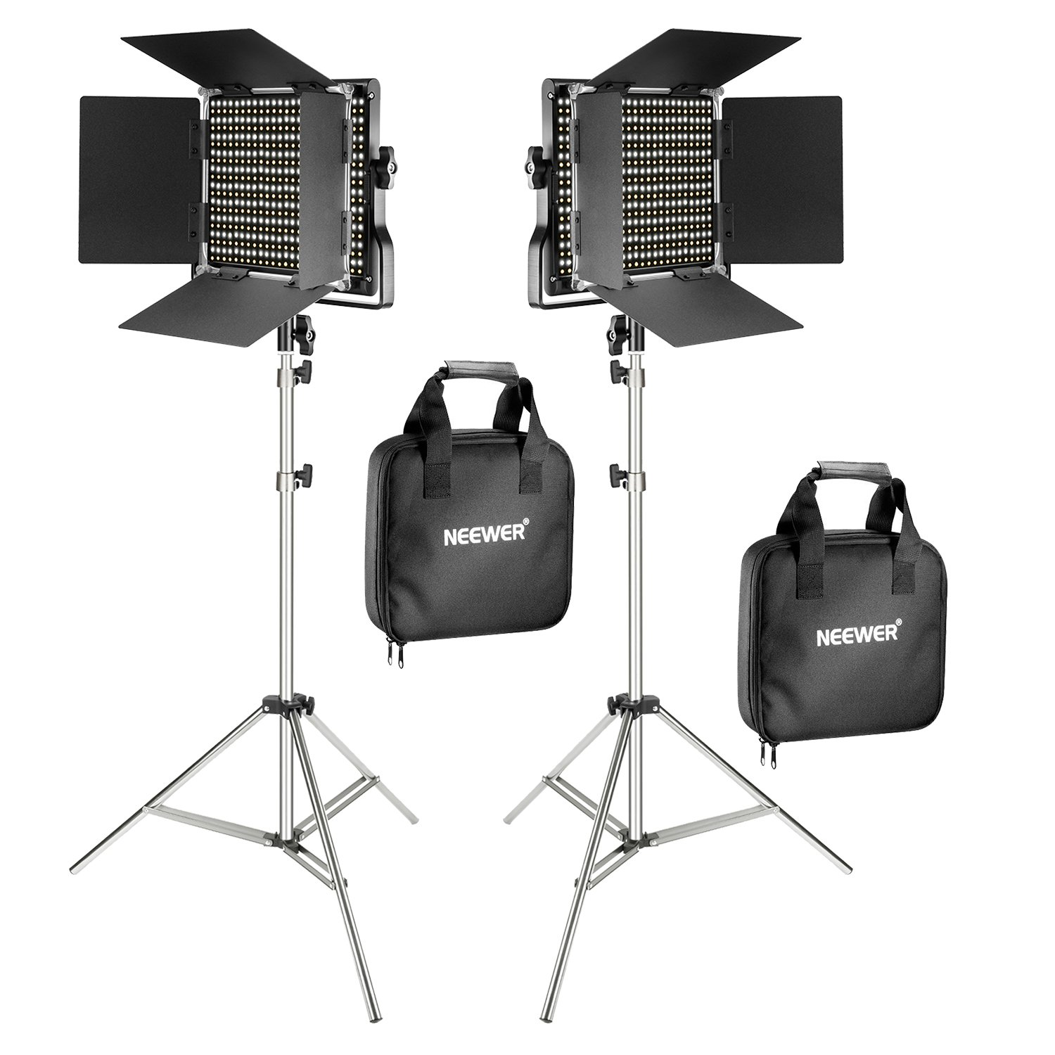 Neewer 2-Pack 660 LED Video Light with 78.7-inch Stainless Steel Light Stand Kit: Dimmable Bi-color LED Panel with U Bracket, Barndoor(3200-5600K,CRI 96+) for Studio Portrait,YouTube Video Photography by Neewer